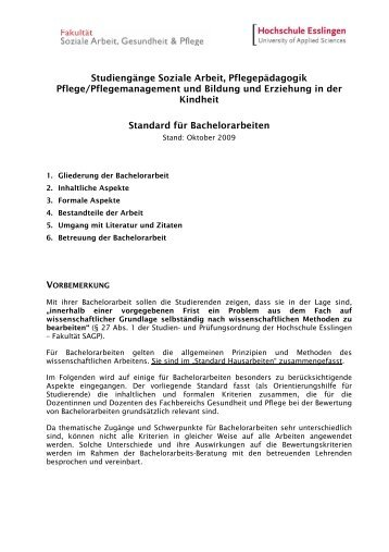 Standard Bachelorarbeiten - Hochschule Esslingen