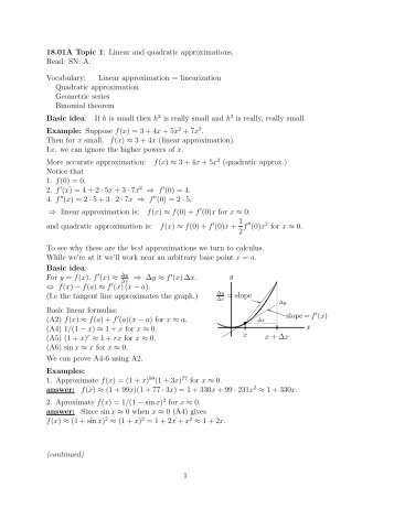 18.01A Topic 1: Linear and quadratic approximations. Read ... - MIT