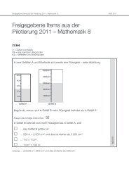 Freigegebene Items aus der Pilotierung 2011 – Mathematik 8 - Bifie