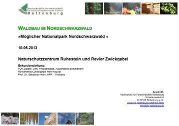 Waldbau im Nordschwarzwald, Naturschutzzentrum Ruhestein und ...