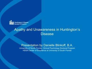 Apathy and Unawareness in Huntington's Disease