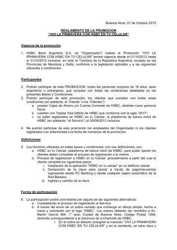 Bases y Condiciones de la promoción. - Hsbc