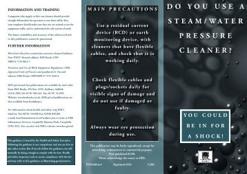 INDG68 - do you use a steam/water pressure cleaner? You ... - HSE