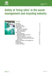 Safety at 'bring-sites' in the waste management and recycling ... - HSE