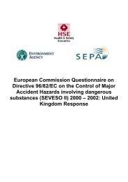 European Commission Questionnaire on Directive 96/82/EC ... - HSE
