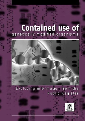 Contained use of genetically modified organisms - excluding ... - HSE