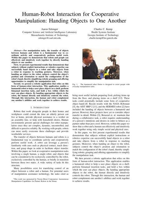 Human-Robot Interaction for Cooperative Manipulation     - CiteSeerX