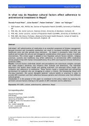 In what way do Nepalese cultural factors affect adherence to ...