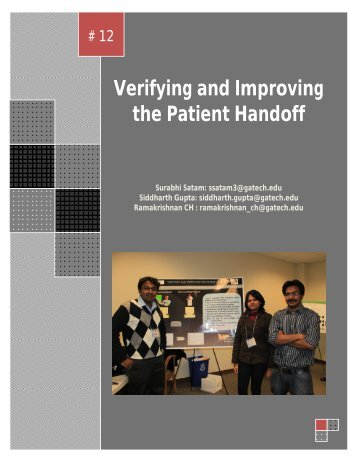 Verifying and Improving the Patient Handoff - Health Systems Institute