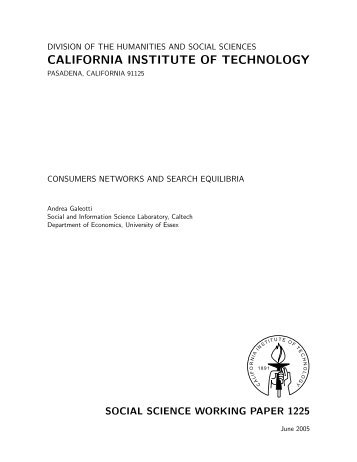 Consumers Networks and Search Equilibria