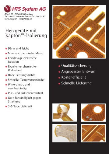 Datenblatt / Prospekt - HTS System AG