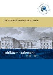 Jubiläumskalender - Humboldt-Universität zu Berlin