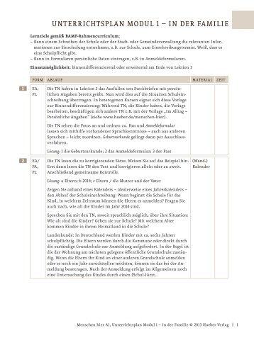 Menschen A1 Unterrichtsplan Modul1 In der Familie - Hueber