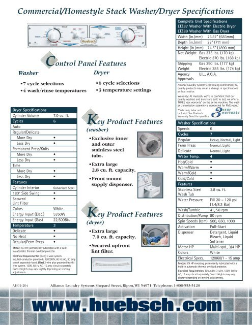 Commercial/Homestyle Stack Washer/Dryer Specifications - Huebsch on
