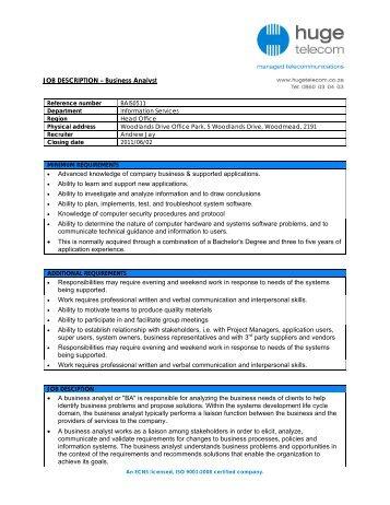 Ctpf Job Description Job Title Business Analyst Department