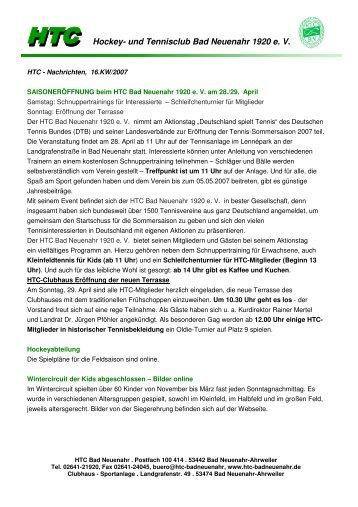Newsletter 16. KW/2007 - beim HTC Bad Neuenahr