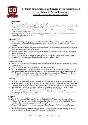 PGW/Geschichte/Geo: Leitfaden für Präsentationsprüfungen