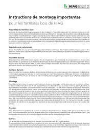 Instructions de montage importantes pour les ... - HIAG Handel AG