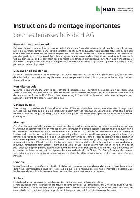 Instructions de montage importantes pour les ... - HIAG Handel AG