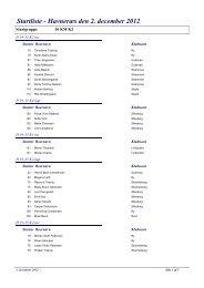 Startliste - Havneræs den 2. december 2012