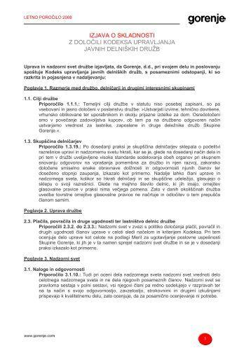 Izjava o skladnosti s kodeksom - Gorenje Group