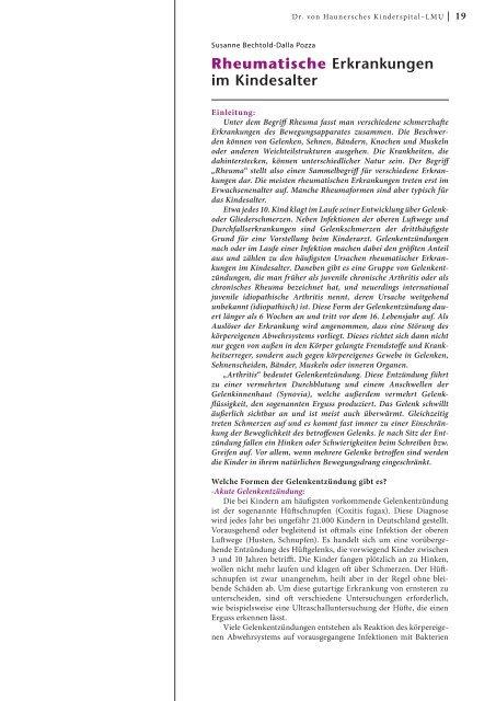 Rheumatische Erkrankungen im Kindesalter - Hauner Journal