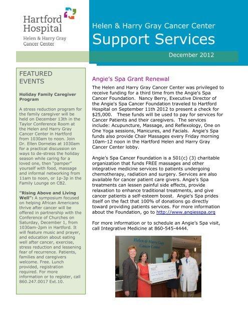 Cancer Center Support Services Newsletter, Dec     - Hartford Hospital!