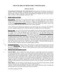 THE JUNE 2006 VIC/DEER PARK™ SWEEPSTAKES - Harris Teeter