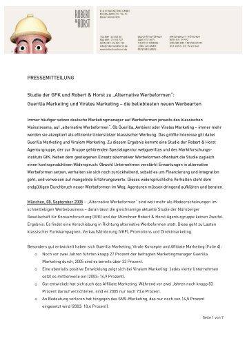PRESSEMITTEILUNG Studie der GFK und Robert & Horst zu ...