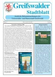 Greifswalder Stadtblatt - Hansestadt Greifswald