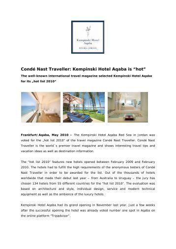 Condé Nast Traveller: Kempinski Hotel Aqaba is ... - Gourmet Network