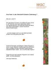 Ihre Feier in der Werkstatt-Galerie Calenberg ? - Hannover Locations