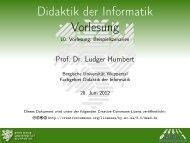 Didaktik der Informatik Vorlesung - 10. Vorlesung: Beispielszenarien