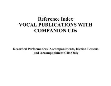 Vocal Publications with Companion CDs - Hal Leonard