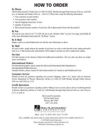 HOW TO ORDER - Hal Leonard