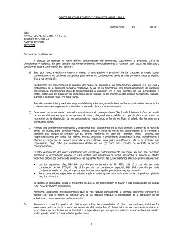 CARTA DE COMPROMISO Y GARANTIA ANUAL ... - Hapag-Lloyd