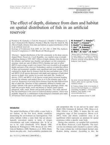The effect of depth, distance from dam and habitat on spatial ...