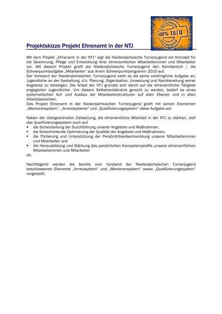 Projektskizze Projekt Ehrenamt in der NTJ