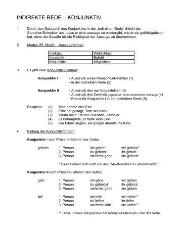 INDIREKTE REDE - KONJUNKTIV - Gymnasium Neutraubling