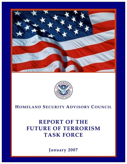 Future of Terrorism Task Force Report - Homeland Security
