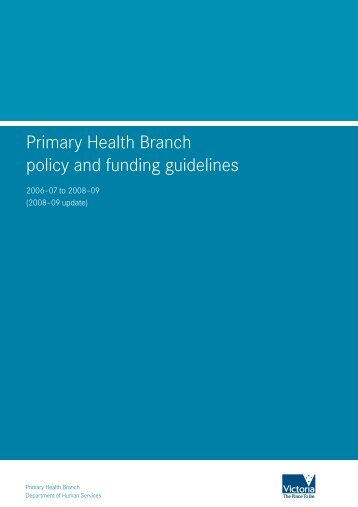 Primary Health Branch policy and funding guidelines