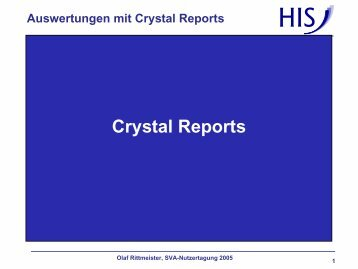 Auswertungen mit Crystal Reports