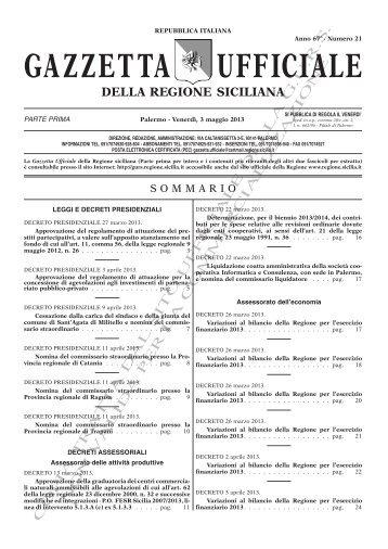 N. 21-Venerdì 03 Maggio 2013 (PDF) - Gazzetta Ufficiale della ...