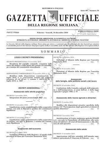 N. 54-Venerdì 10 Dicembre 2010 (PDF) - Gazzetta Ufficiale della ...