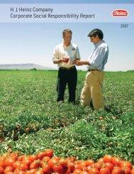 H. J. Heinz Company Corporate Social Responsibility Report