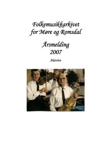 Folkemusikkarkivet for Møre og Romsdal Årsmelding 2007