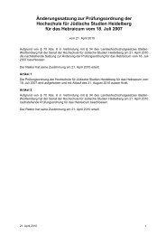 Prüfungsordnung der - Hochschule für Jüdische Studien Heidelberg