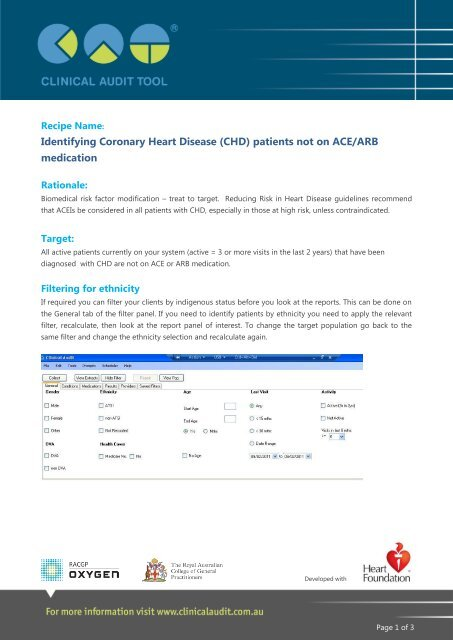 CHD) patients not on ACE/ARB medication - Clinical Audit Tool