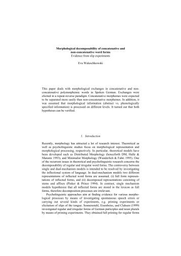 Morphological decomposability of concatenative and non ...