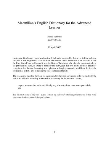 Macmillan's English Dictionary for the Advanced Learner